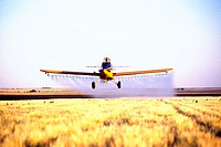Plane spraying pesticide barley field in Colorado