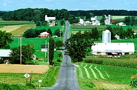 Country road and farmland in western Maryland