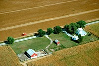 Aerial view of farms at harvest time in Clinton county, OH
