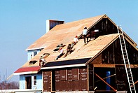 Carpenter Putting roof on new home in MD