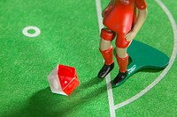 High angle view of figurine of soccer player