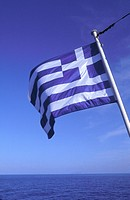 Close_up of Greek flag