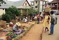 Roadside market in the town of Antsirabe, Madagascar.