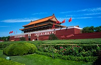 Formal garden in front of palace, Tiananmen Gate Of Heavenly Peace, Tiananmen Square, Forbidden City, Beijing, China