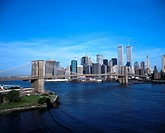 Bridge with Manhattan city skyline in background, Brooklyn Bridge, New York City, New York State, USA