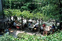 High angle view of tourists in restaurant, Grotto Dei Due Ponti , Gentilino, Tessin, Switzerland
