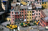 High angle view of outdoor cafes in town, Vernazza, Cinque Terre, Italy