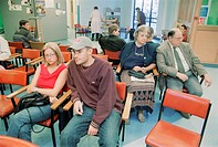 Patients sitting in waiting room of Fracture Clinic in hospital,