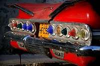 Row of lights on rear of old American car in Havana, Cuba