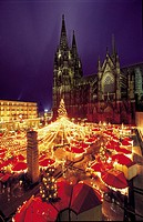 Christmas fair in front of cathedral, Cologne, Germany