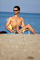 Man at beach. Greece