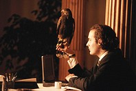 Businessman with laptop holding eagle on fist