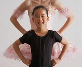 Two girls (9-15) wearing ballerina costumes, hands on hips, portrait