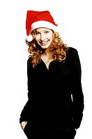 Businesswoman wearing santa hat