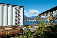 Grain terminal and Second Narrows Bridge, Vancouver, BC , Canada
