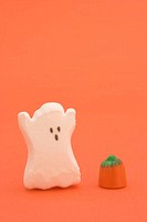 Halloween candy in shape of ghost and pumpkin