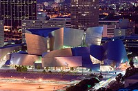 Evening View of  Walt Disney Concert Hall from Los Angeles City Hall. Downtown. Los Angeles. California. USA.