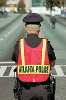Police officer directing traffic. Atlanta, Georgia. USA