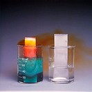 Copper reacting with nitric acid on the left, while the aluminum and nitric acid in the beaker on the right do not react.