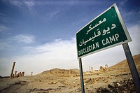 Sign post on the Transverse Street marking the extent of the Dioclecian Camp in the ruins of Palmyra, Syria.  The Funery Tower Tomps of Iamliku can be...