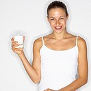 Woman Enjoying Healthy Glass of Milk