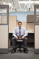 Man in Office Cubicle