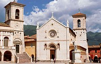 Piazza San Benedetto. The church and the municipal palace. Norcia. Umbria. Italy.