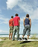 Three men by surfboard, looking out to sea, rear view, low angle view