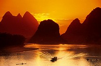 Sunset. Landscape. Lijiang river. China