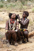 Girls. Karo ethnic group, lower Omo river basin, Gamo Gofa region, south west Ethiopia.