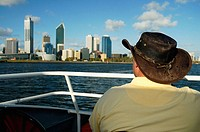 Tourist admiring the Perth skyline. Australia. December 2005