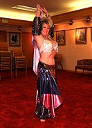 Portrait of a belly dancer dancing