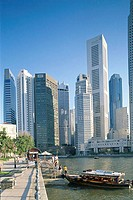 Financial District, River Walkway and Singapore River, City Skyline, Singapore
