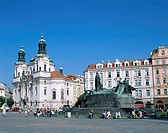 Jan Hus Statue and St. Nicholas Church, Old Town Square, Prague, Czech Republic
