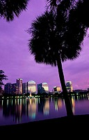 Buildings on the waterfront, Lake Eola, Orlando, Florida, USA
