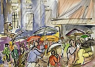 Rain, Midtown, 1998, Richard H. Fox (b.1960/American), Watercolor & Ink on Paper