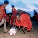 Masai children playing football. Tanzania