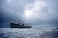 Beached oil tanker
