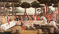 fine arts, Botticelli, Sandro, (1445 - 1510), painting, ´the story of Nastagio degli Onesti (third episode)´, circa 1483, tempera on panel, 84 cm x 14...