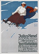 advertising, clothing, sportswear, Julius Henel, Breslau, circa 1910, poster, design by Carl Franz Moos (1878 - 1959), fine arts, couple, sleigh, slei...