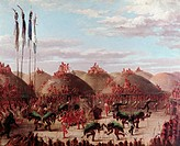geography / travel, USA, people, American Indians, tribes, Mandan, ´Grand cult festival of Mandan Indians´, bison dance, painting, by George Catlin, (...
