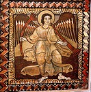 geography/travel, Switzerland, Grisons, Zillis, churches and convents, Saint Martin, interior view, ceiling paintings, detail, angel with trumpets, wo...