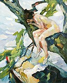 fine arts, Putz, Leo, (1869 - 1940), painting, ´Akt auf einem Baum´, (´nude on tree´), oil on canvas, 54 cm x 43,5 cm, Schüller gallery, Munich, histo...