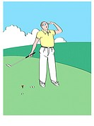 Golf Man 1 Linda Braucht (20th C. American) Computer Graphics