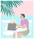 Beach Man Linda Braucht (20th C. American) Computer Graphics