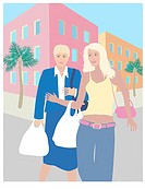 The Two Blond Shoppers Linda Braucht (20th C. American) Computer Graphics