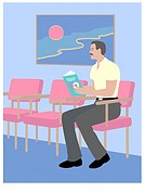 Man in Waiting Room 2 Linda Braucht (20th C. American) Computer Graphics