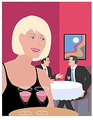 Blond Waitress Linda Braucht (20th C. American) Computer Graphics