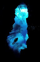 Scuba diving near underwater cave