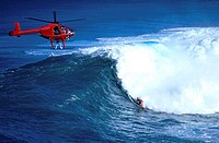 Surfing at Jaws Hawaii USA